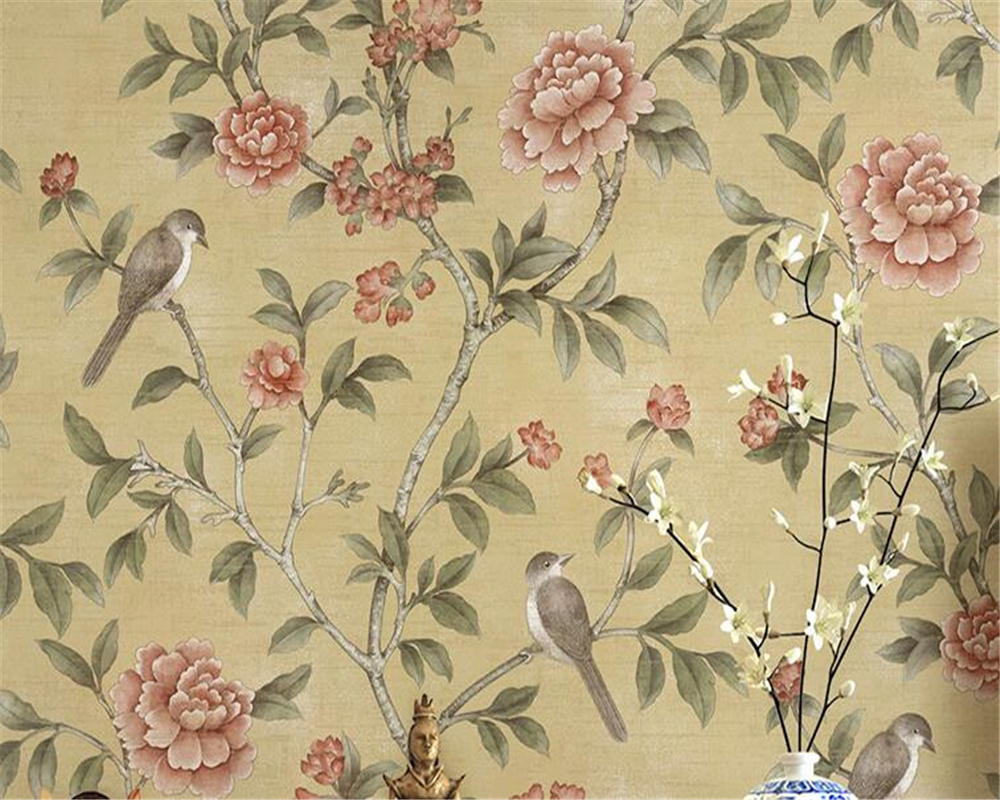 Beibehang Modern European style rich flowers and birds 3D wallpaper bedroom study house TV wall background walls wallpaper roll