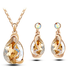 Excessive High quality New Arrival  Gold Plated Austrian Crystal Rhinestone earrings pendant necklace vogue Jewellery units g229