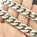 10mm/12mm Customized Size Cool Men's Jewelry Silver 316L Stainless Steel Cuban Curb Chain Men's Boy's Necklaces Will Not Tarnish