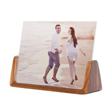 Natural Wood Picture Frame with Clear Acrylic Mat Desktop Photo Frame for Landscape and Portrait(China)