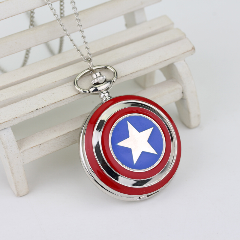 Captain America Pocket Watch Silver Large Pentagram Locket Watch Fob Super Hero Pocket Watch Pendant For Gifts