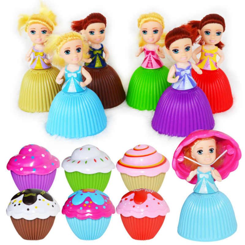 6 cores mini bonito bolo boneca brinquedo surpresa cupcake criança boneca brinquedo para crianças criança transformado scented meninas engraçado jogos