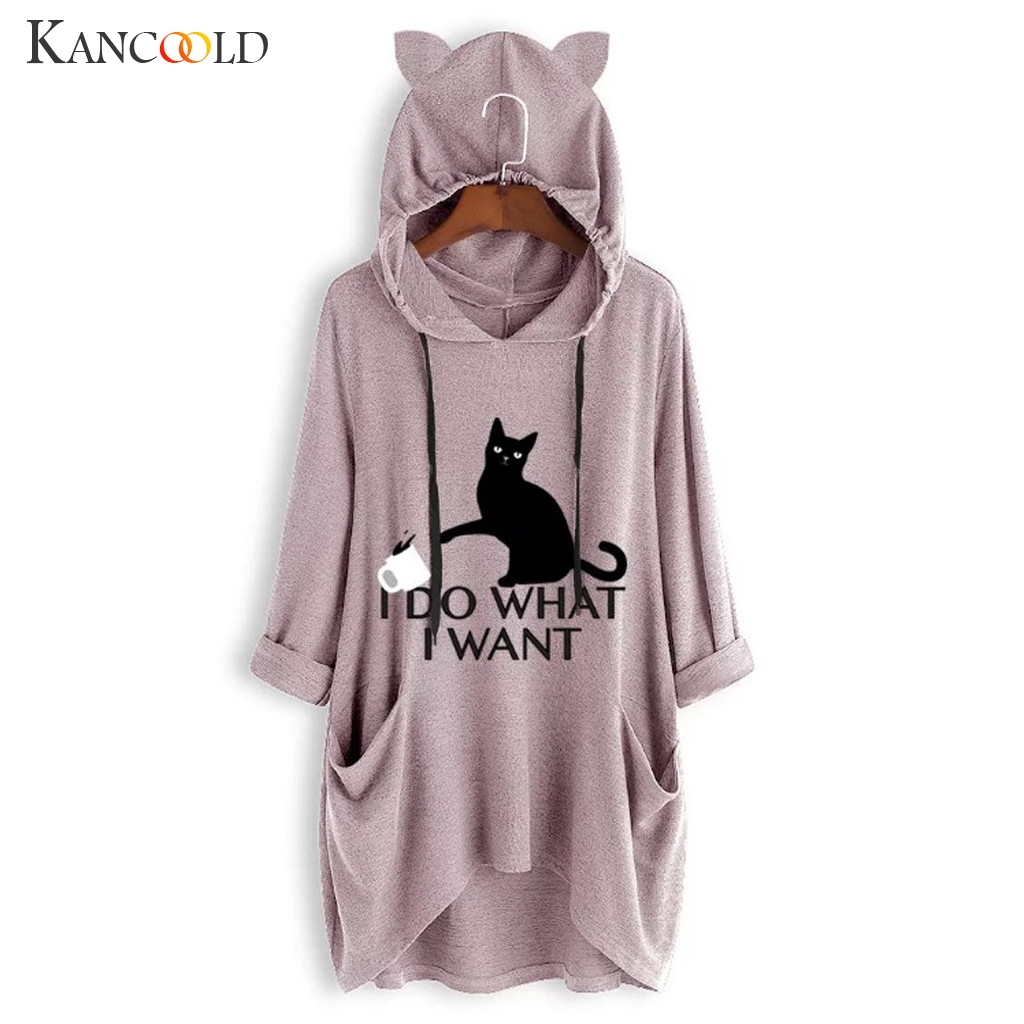 Women Casual Printed Cat Ear Hooded T-Shirt Long Sleeves Pocket Irregular fashion 1