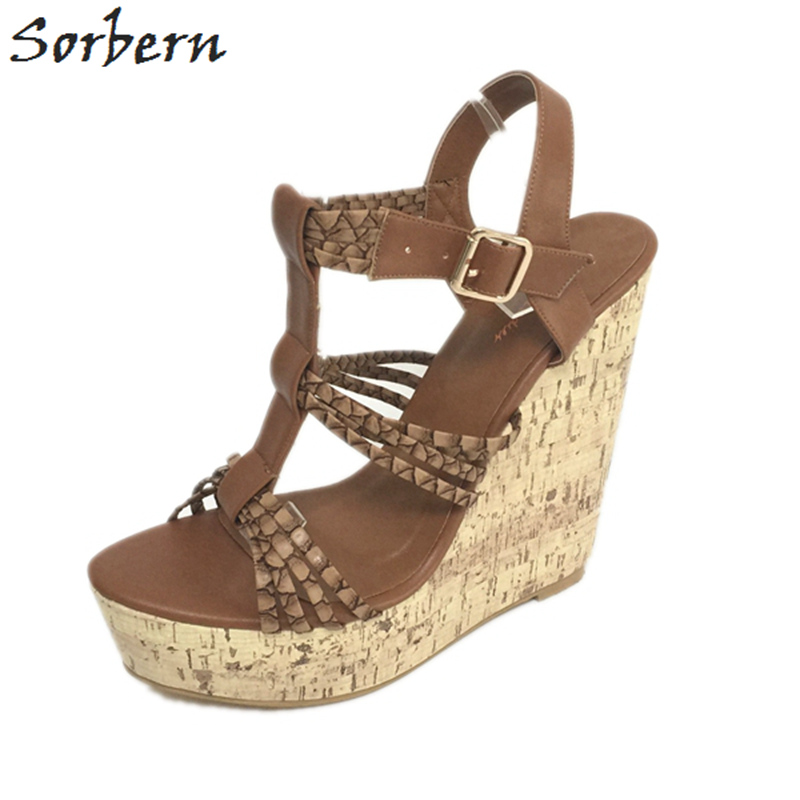 Sorbern Brown T-Strap Women Sandals High Heels Wedge Shoes Women Heels Platform Women Big Size 12 High Heels Sapatos FemininoSorbern Brown T-Strap Women Sandals High Heels Wedge Shoes Women Heels Platform Women Big Size 12 High Heels Sapatos Feminino