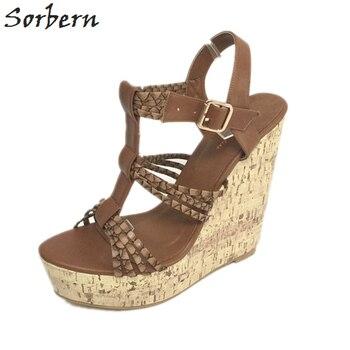 Sorbern Brown T-Strap Women Sandals