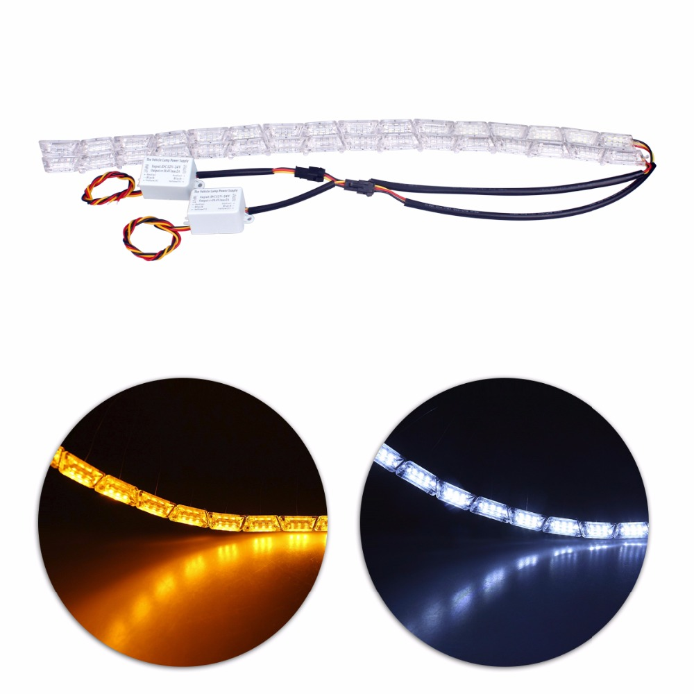 2Pcs Car Styling LED Knight Rider Strip LED Daytime Running Light Turn Signal LightS Flowing Yellow Steady Crystal Bar DRL Lamp ijdm amber yellow error free 2835 led 1156 p21w led bulbs for car front or rear turn signal lights daytime running lights