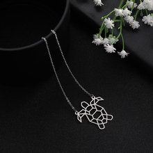 My Shape Silver Stainless Steel Turtle Animal Cutout Pattern Pendant Necklaces Jewelry Accessories