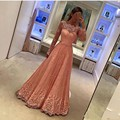 HUIFANY New Fashion Boat Neck Long Sleeves Elegant Lace Floor-Length A-Line Evening Dresses Long Formal Dresses Free Shipping