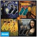 35-40 1 par feliz Edvard Munch Mona Lisa Van Gogh Pablo Picasso De sterrennacht MONALIZA calcetines rin noche estrellada whoop yell ing