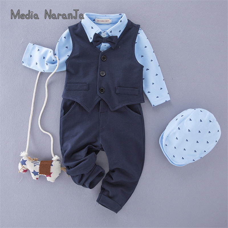 Baby boy clothes gentlemen wedding blue bow tie long sleeves romper+vest+pants+hat party birthday costume clothing
