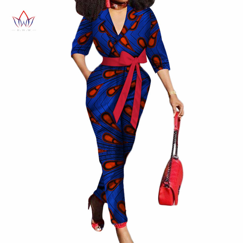 african women jumpersuit with print sexy overalls women jumpsuit elegant v-neck dashiki pants plus size short sleeve 5xl WY3157