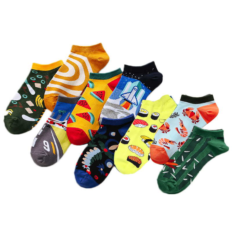 PEONFLY 1pair Fashion Striped Men's Socks Invisible Low Cut Ankle Sock Summer Casual Breathable Short Socks Unisex Coton &women