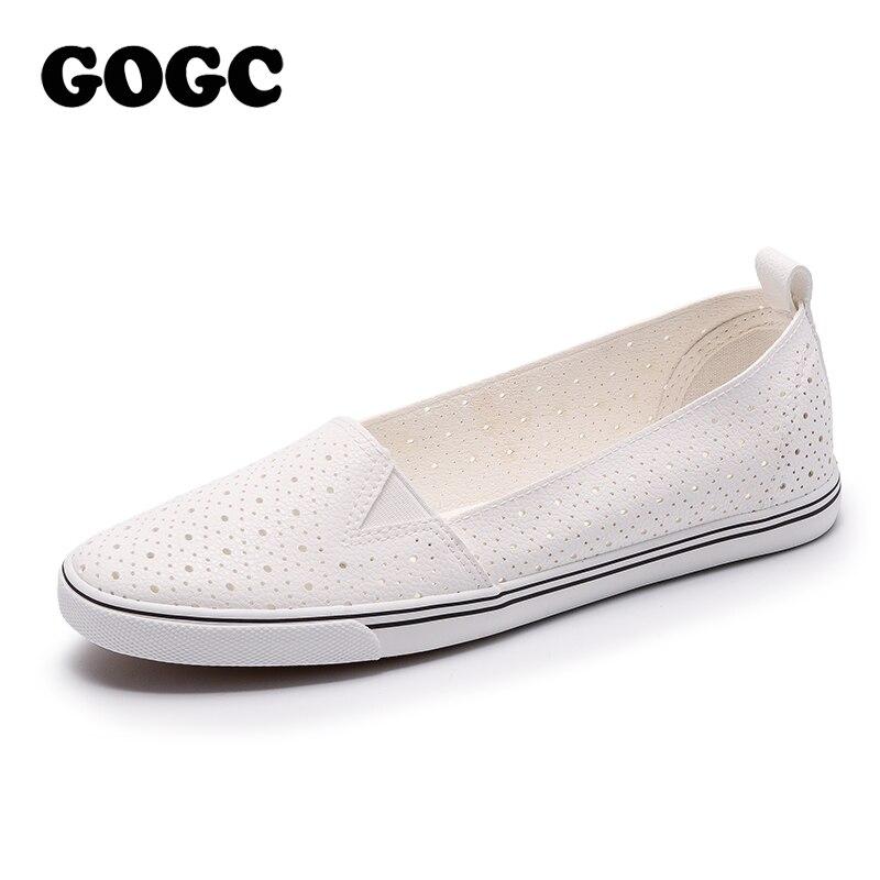 GOGC 2018 New Slipony Women Hole Shoes Breathable Soft Women Flats Shoes Vulcanized Slip on Ladies Leather Shoes Women Sneakers
