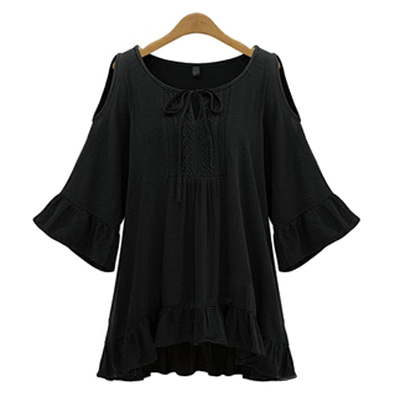 Plus Size Summer Lady Blouse Shirts Solid Color Off Shoulder Women Blouse Casual Female Half Sleeve O-neck Shirt Tops
