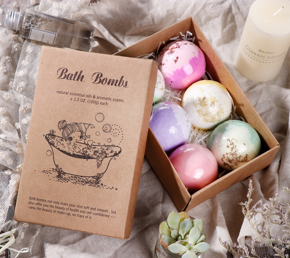 Tsing 6X100g Organic Bath Bomb Scented Petals Large Bath bomb Moisturizing handmade bath ball Bubble bath bomb SPA Gift set