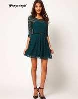 Wangcangli New Summer And Spring Women S Round Neck Casual And Brief Pleated Lace Dress Half