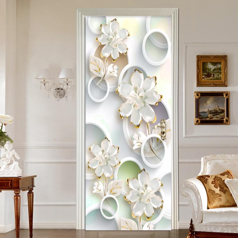 Modern Fashion 3D Stereo Circle Flowers Door Sticker Living Room Home Decor Wallpaper Vinyl 3D Mural PVC Self Adhesive Stickers|Door Stickers| |  - title=