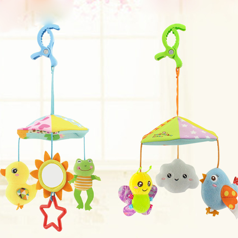 Baby Stroller Crib Pram Bed Hanging Toy Accessories Musical Baby Rattles Mobiles Rotating Plush Appease Soothing