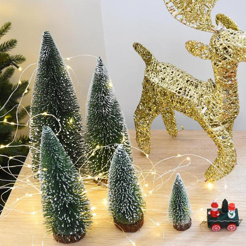 mini christmas tree decoration for home pine needles sticky snow mini bonsai tree ornaments christmas gift party decoration in trees from home garden on