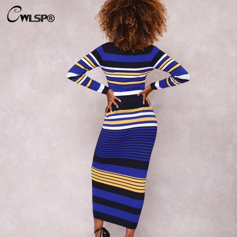 Casual Two piece set Knitted Striped dress Ribbed 2