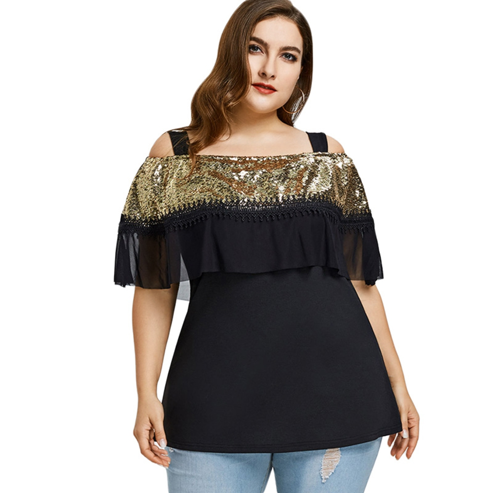 Off The Shoulder Sequins Ruffled Plus Size T Shirt Women Summer Lace Top Plus Size Women Clothing Big Size 4XL magliette donna