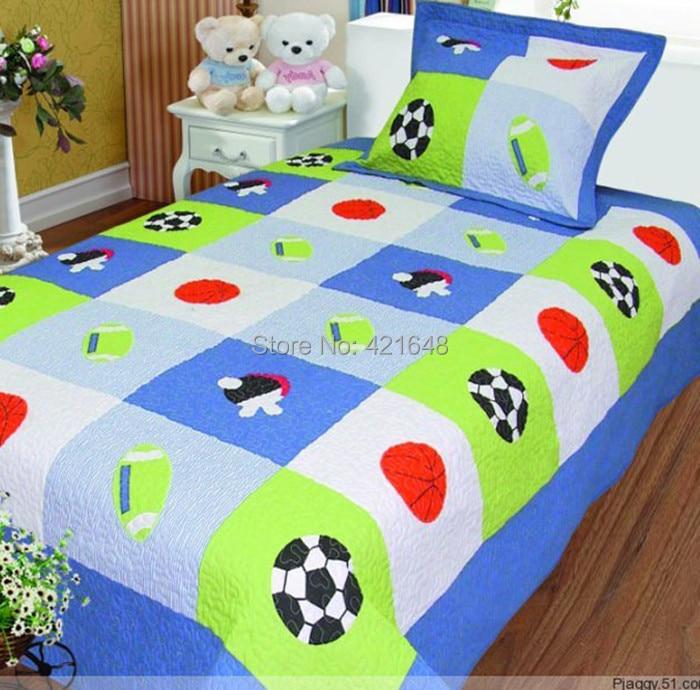 Free shipping export boys football applique bedding set soccer ...