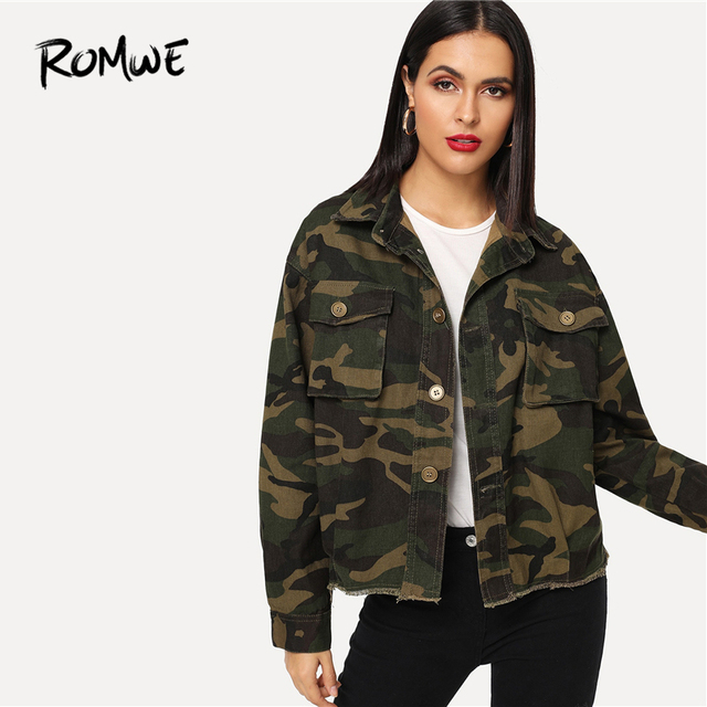 d45b83372f9d4 ROMWE Camo Frayed Edge Pocket Detail Denim Jacket 2019 Cool Camouflage  Single Breasted Jackets Spring Autumn Womens Outerwear