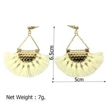 MANILAI T Show Bohemia Tassels Dangle Earrings Women Accessories Cotton Handmade Fringed Earrings Ethnic Jewelry Trendy Style
