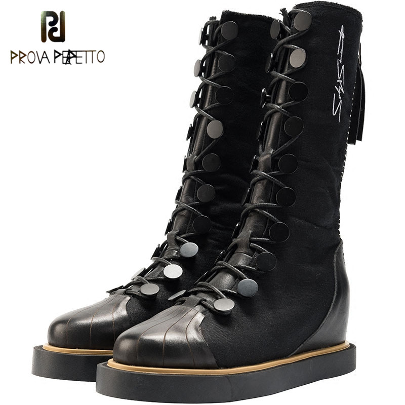 Prova Perfetto New Women Genuine Leather Boots Lace up Platform Boots Fashion Punk Martin Boots For Woman Increased Within Shoes prova perfetto yellow women mid calf boots fashion rivets studded riding boots lace up flat shoes woman platform botas militares