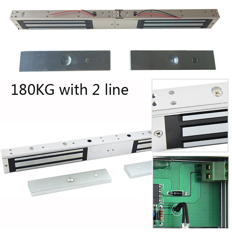 Free shipping 180kg double door electric lock 2 line installation maintenance 2 door mounted magnetic lock