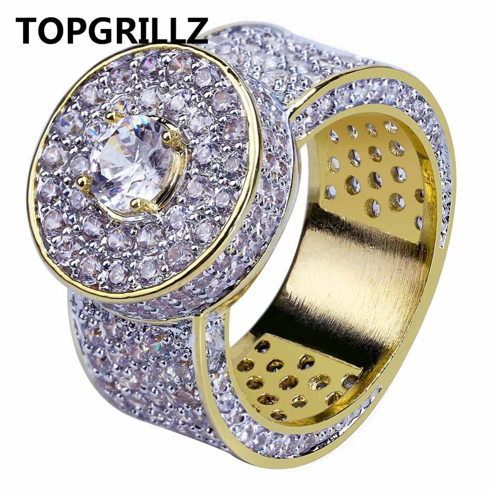 TOPGRILLZ Gold Color All Iced Out Big Stone Micro Pave Cubic Zircon Ring 7 8 9 10 11 Five Sizes Rings Hip Hop Jewelry For Male