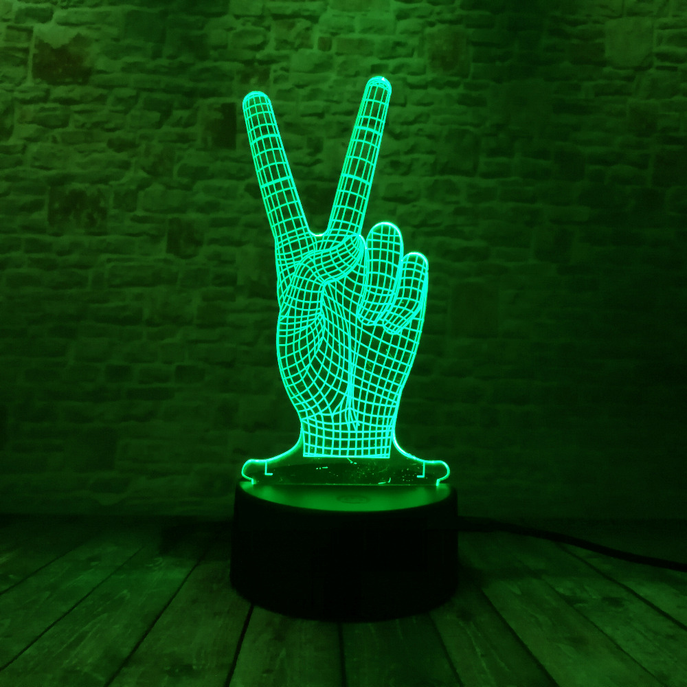 Novelty Hot Glowing The Victory 3D YES Gesture 7 Color Gradient LED - Night Lights - Photo 4
