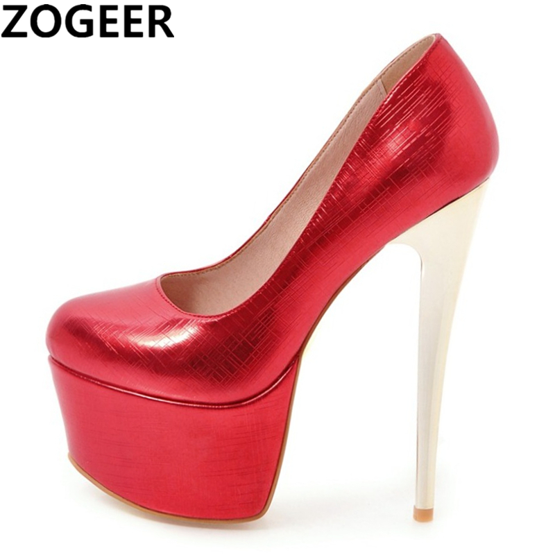 a997caaff304 Plus Size 48 Fashion Women Pumps Platform Extreme 16cm High Heels Shoes  Sexy Nightclub Evening Party