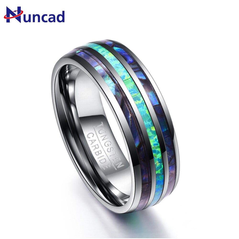 Nuncad 8mm Breite Poliert Abalone Shell wolfram hartmetall ringe Dome Triple Rillen opal Wolfram Stahl Ring nie verblassen T082R
