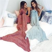 Creative Fashion Knitted sofa blanket Handmade Crochet/Blanket Mermaid Blanket queen princess gift Wrap Super Soft Home Decor