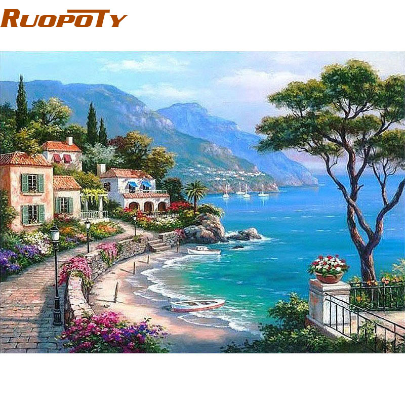 RUOPOTY Frame The Mediterranean Sea DIY Painting By Numbers Seascape - Home Decor