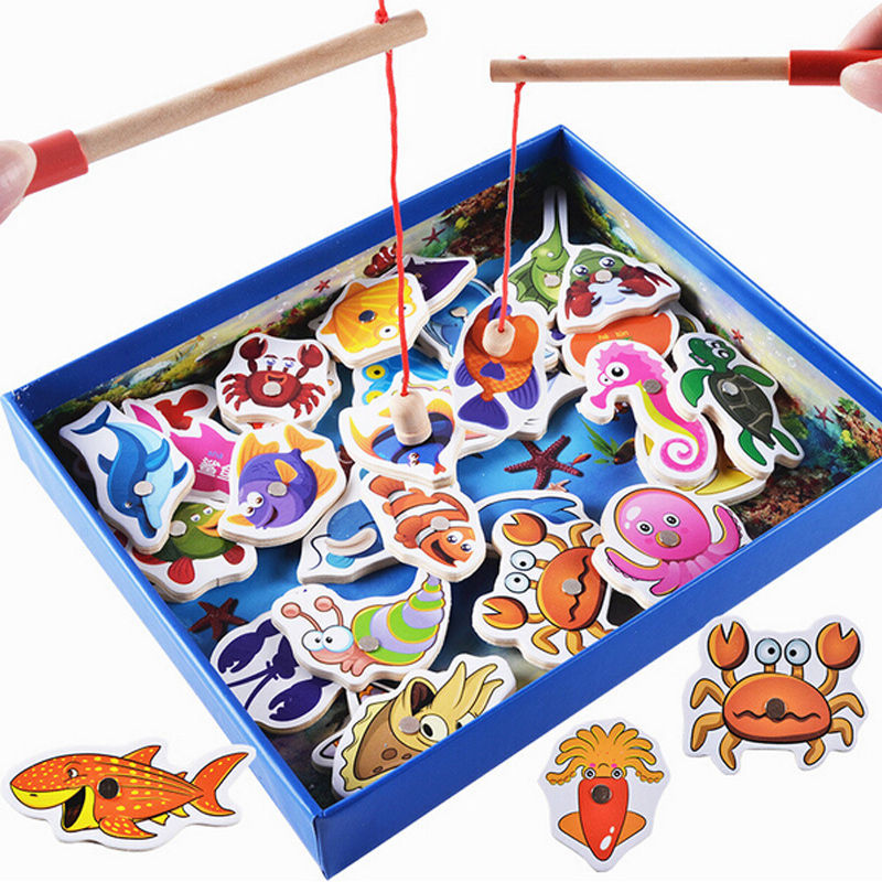 Baby Educational Wooden Children Toy Fishing Set Marine Biological Congnition Magnetic Toys Set Game Kids Gift 32Pcs Fishing Set