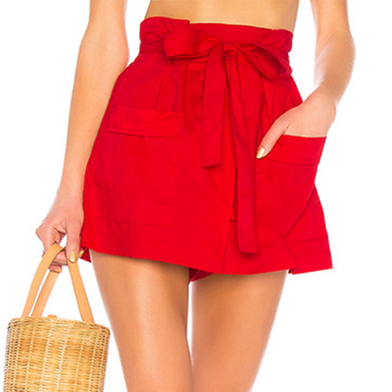 Conmoto Red Solid Casual Women Shorts High Fashion Summer 2019 Sexy Shorts Belt Tie Cotton Bow Female Shorts