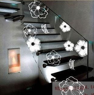 Three generations of flower black and white tv wall stickers bathroom glass decoration sticker