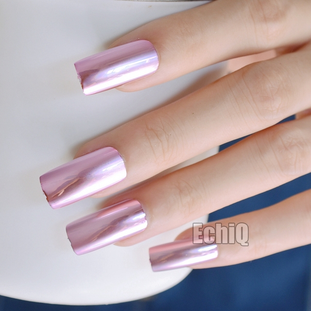 Metallic Nail Art Tips Square Top Extra Long Acrylic Nails Pink ...