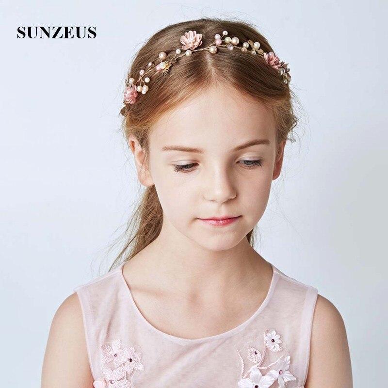 Flowers Pealrs Children Headband Stunning Girls First Communion Hair Decoration Bridesmaid Garland SG11