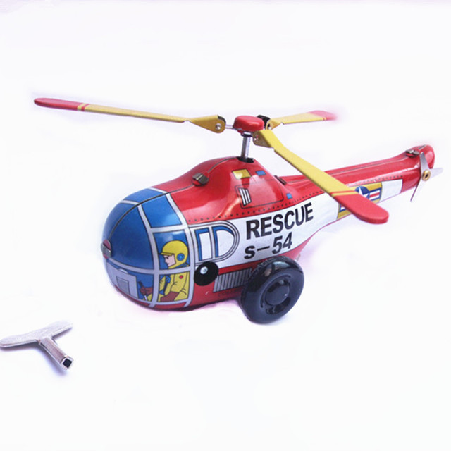 Classic Vintage Clockwork Little Helicopter Nostalgic Wind Up Children Kids Tin Toys With Key Fun Toys Gift For Children