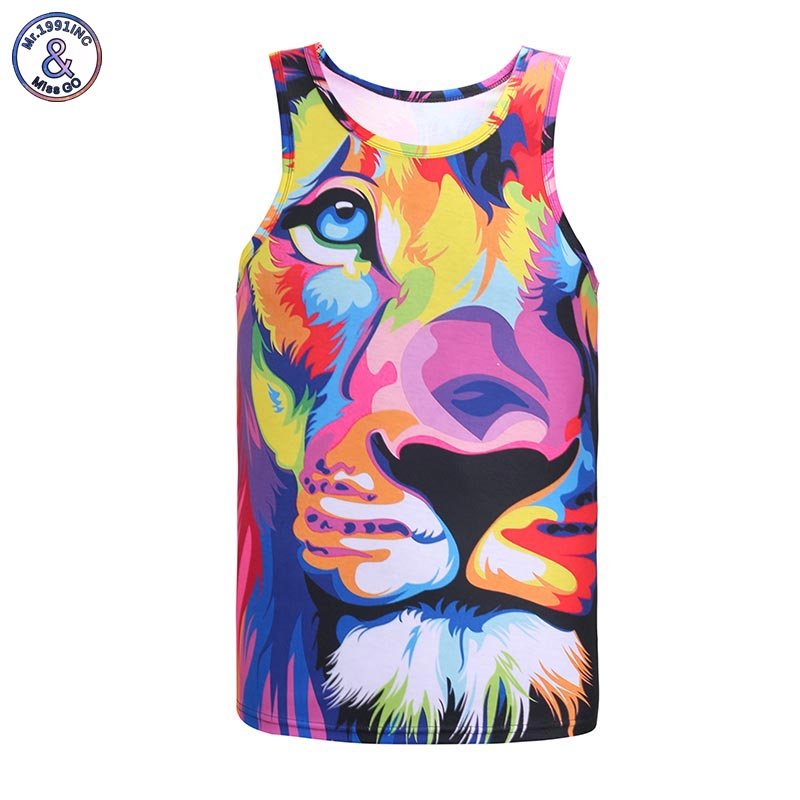 Mr 1991INC Impression style men 3d vest printing watercolor lion animals summer cool slim tank tops