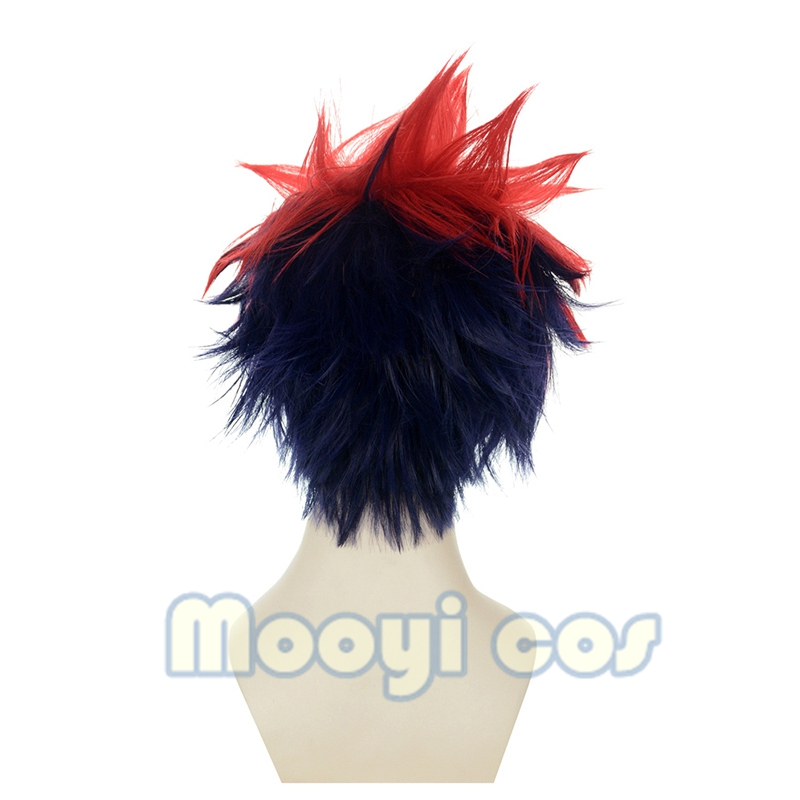 Image 3 - Shokugeki No Soma Yukihira Souma Cosplay Wig for Men Boys 30cm Short Straight Heat Resistant Synthetic Hair Blue Red MixedAnime Costumes   -