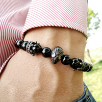8mm Black Agate Beads Gold Silver Crown With Crystal Spiderman Charm Natural Stone Beads Bracelet For