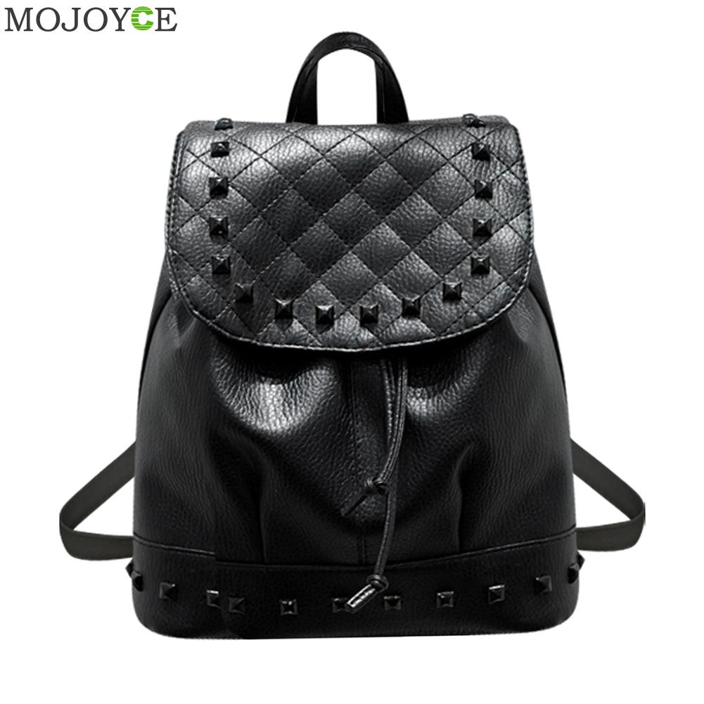 2017 Summer Washed Leather Shoulder Bag Fashion Korean Female Mini Rivet Backpack Teenage Girl