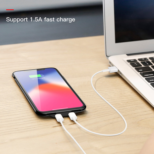 Baseus iPhone X Audio Case Earphone Headphone Adapter Split Aux Back Cover Case