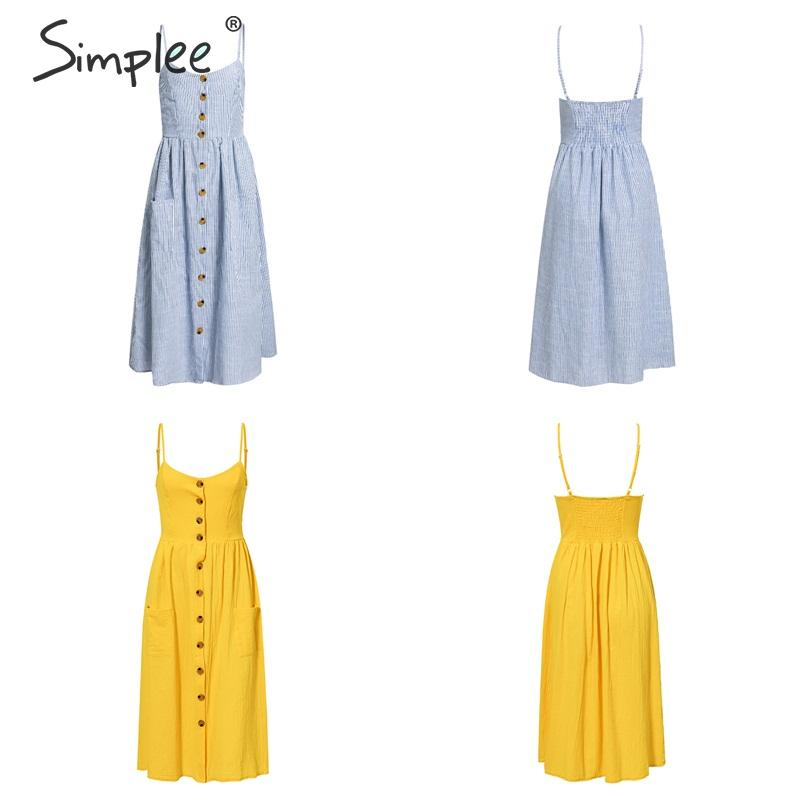 Elegant button women dress Pocket polka dots yellow cotton midi dress Summer casual female plus size lady beach vestidos 20