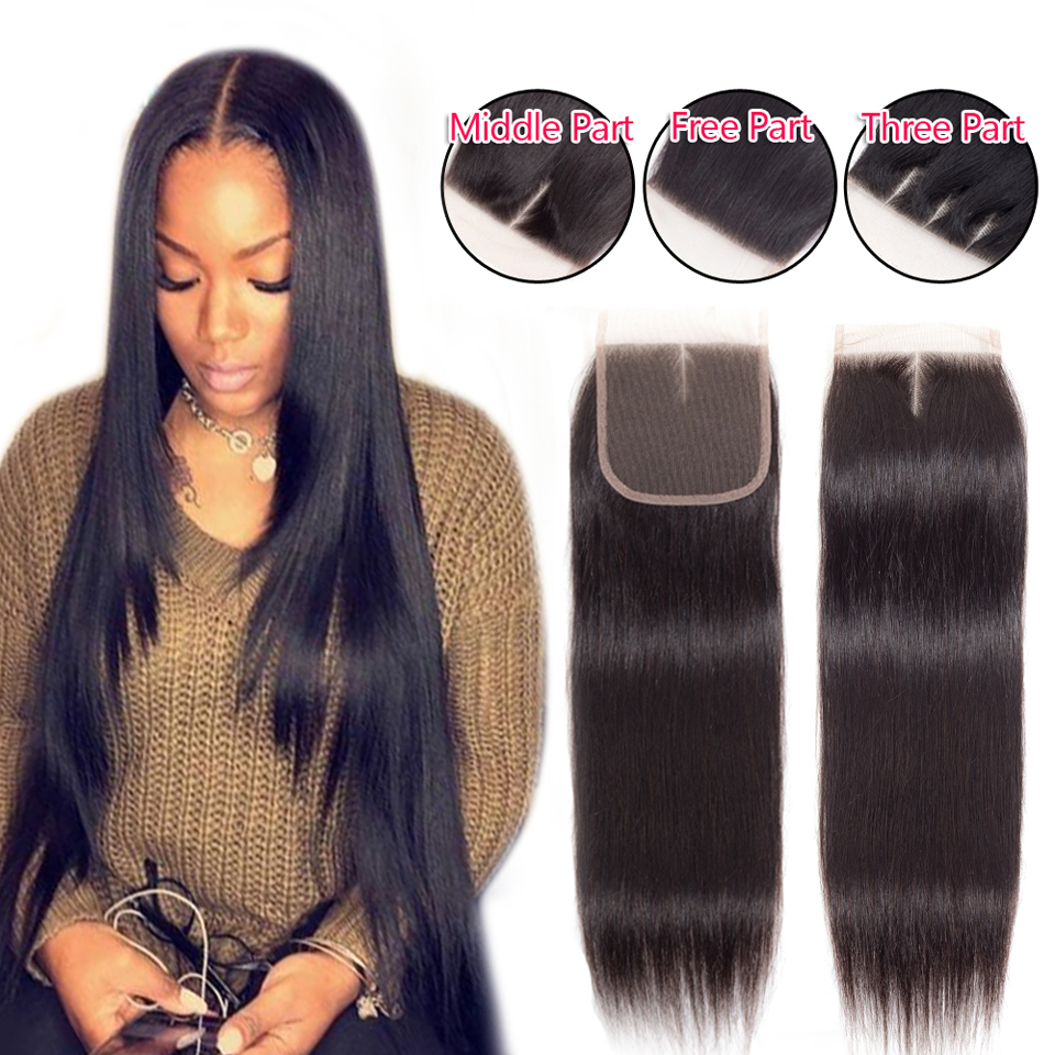 Brazilian Straight Remy Human Hair Lace Closure 4*4 Medium Brown Color Swiss Lace 1 Piece Closure Hair Extension Clover Leaf