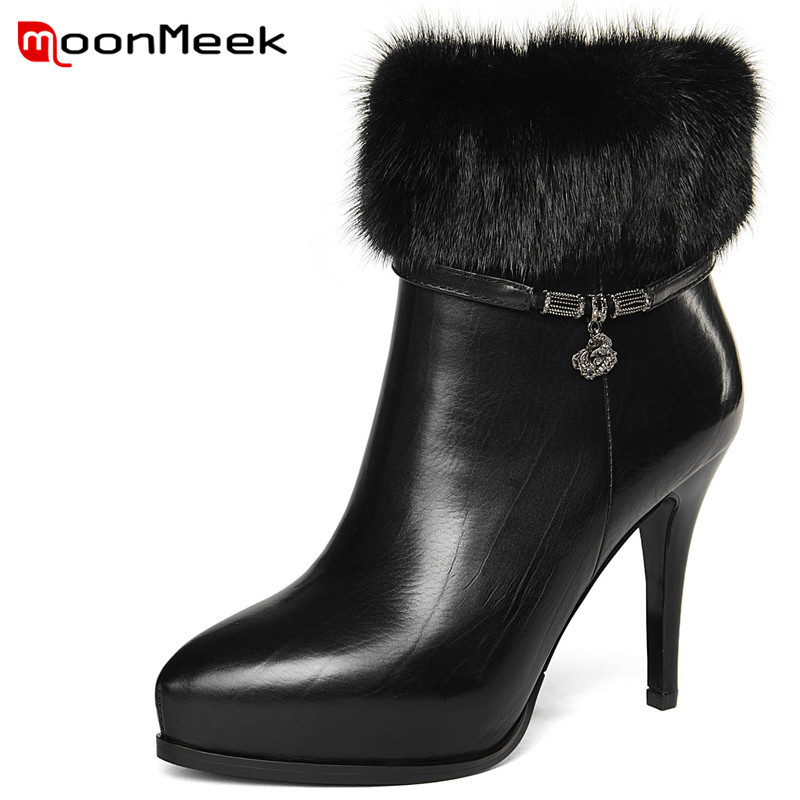 купить MoonMeek 2018 hot sale ladies genuine leather boots classic pointed toe ankle boots autumn winter women super high heel boots по цене 5721.31 рублей